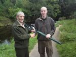 Patsy McCann founder member of Moyola Angling Assocaition with Steven Brennan winner of the charity competition