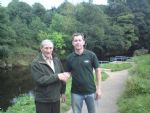 Patsy McCann founder member of Moyola Angling Assocation with Seamus Donnelly 2nd place prize winner
